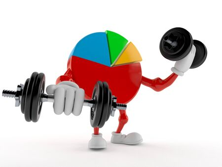 Pie chart character with dumbbells isolated on white background. 3d illustration