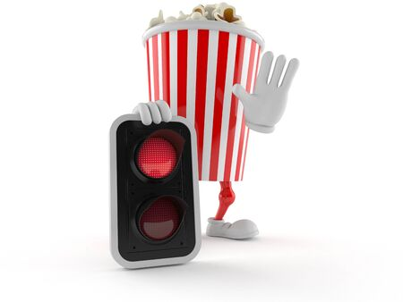 Popcorn character with red light isolated on white background. 3d illustration Imagens