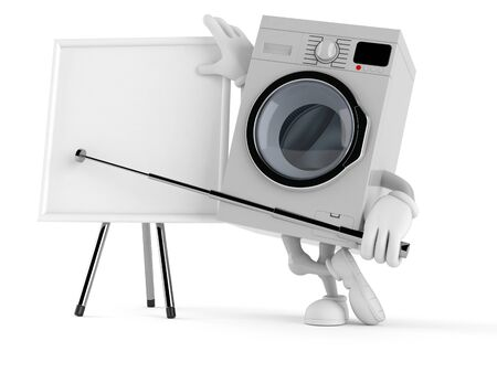 Washer character with blank whiteboard isolated on white background. 3d illustration