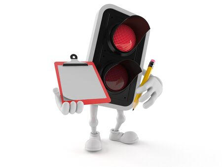 Red traffic light character holding clipboard and pencil isolated on white background. 3d illustration