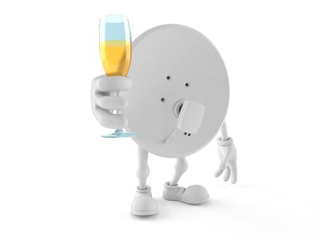 Satellite dish character toasting isolated on white background. 3d illustration 写真素材