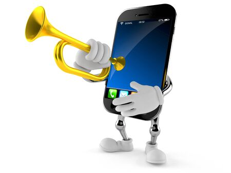 Smart phone character playing the trumpet isolated on white background. 3d illustration