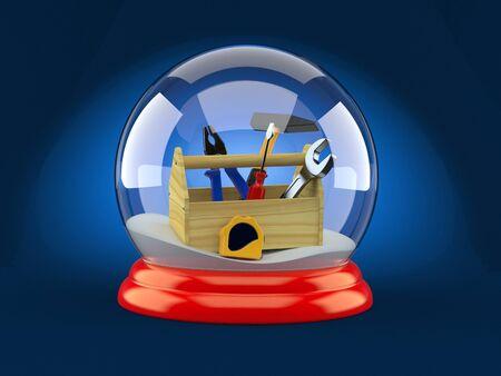 Toolbox inside christmas glass ball on blue background. 3d illustration