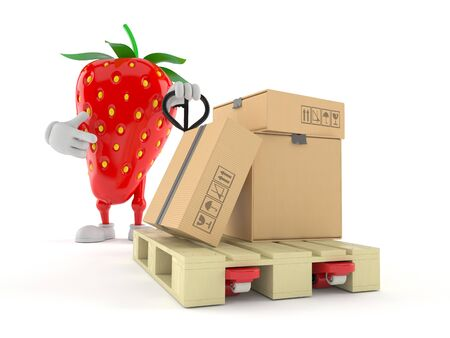 Strawberry character with hand pallet truck with cardboard boxes isolated on white background. 3d illustration
