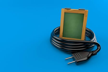 Wooden blackboard with electric plug isolated on blue background. 3d illustration Stockfoto