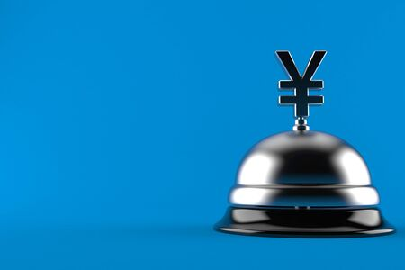 Yen currency with hotel bell isolated on blue background. 3d illustration Фото со стока