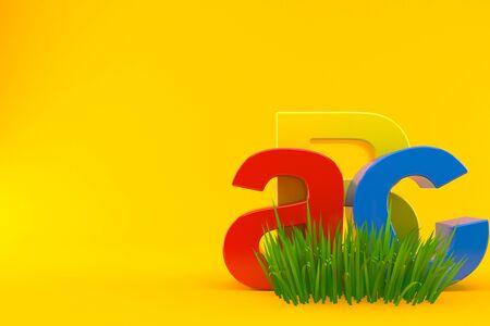 ABC text on grass isolated on orange background. 3d illustration Zdjęcie Seryjne