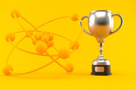 Science background with trophy in orange color. 3d illustration Фото со стока