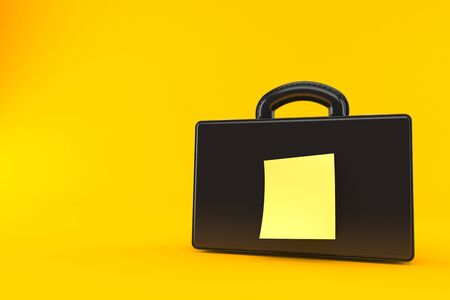 Briefcase with blank yellow sticker isolated on orange background. 3d illustration 스톡 콘텐츠