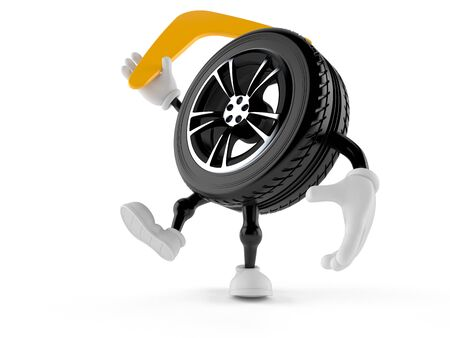 Car wheel character throwing boomerang isolated on white background. 3d illustration