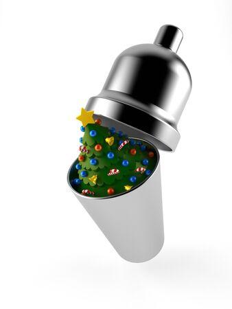 Christmas tree inside cocktail shaker isolated on white background. 3d illustration