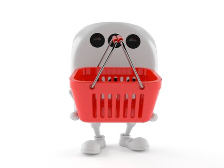 Dice character holding shopping basket isolated on white background. 3d illustration