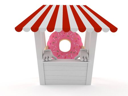 Donut character with stall isolated on white background. 3d illustration