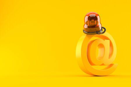 E-mail symbol with emergency siren isolated on orange background. 3d illustration
