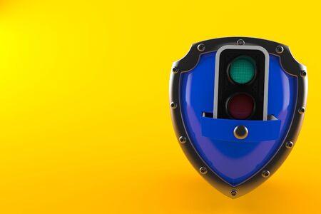 Green traffic light inside shield isolated on orange background. 3d illustration