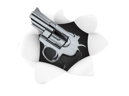 Gun inside hole from torn paper. 3d illustration Stok Fotoğraf