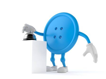Button character with hotel bell isolated on white background. 3d illustration