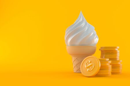 Ice cream with stack of coins isolated on orange background. 3d illustration