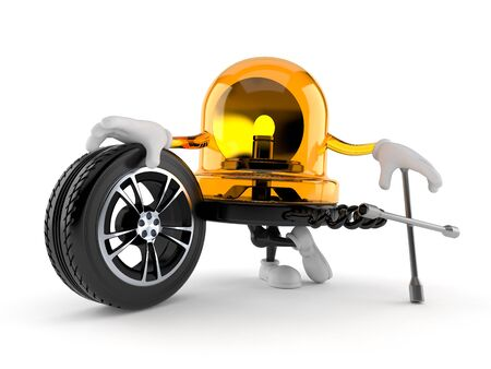 Emergency siren character with car wheel and spanner isolated on white background. 3d illustration