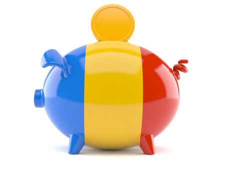 Piggy bank with romanian flag isolated on white background. 3d illustration