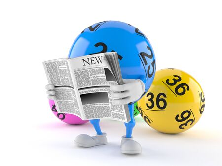 Lotto ball character reading newspaper isolated on white background. 3d illustration 写真素材