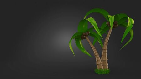 Palm tree on gray background. 3d illustration 스톡 콘텐츠