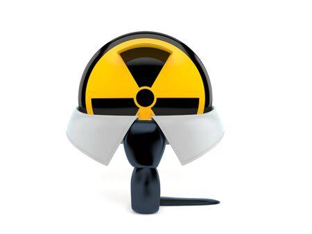 Radioactive symbol isolated on white background. 3d illustration