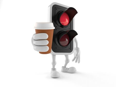 Red traffic light character holding coffee cup isolated on white background. 3d illustration