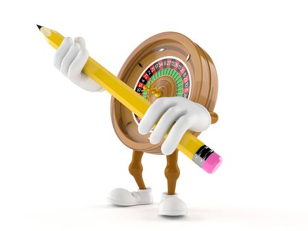 Roulette character holding big pencil isolated on white background. 3d illustration 写真素材