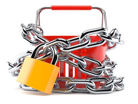 Shopping basket with chain and padlock isolated on white background. 3d illustration