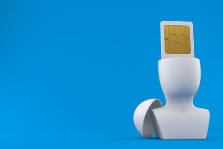 SIM card inside head isolated on blue background. 3d illustration
