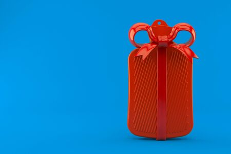 Hot water bottle with red ribbon isolated on blue background. 3d illustration