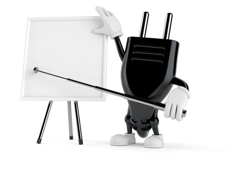 Electric plug character with blank whiteboard isolated on white background. 3d illustration