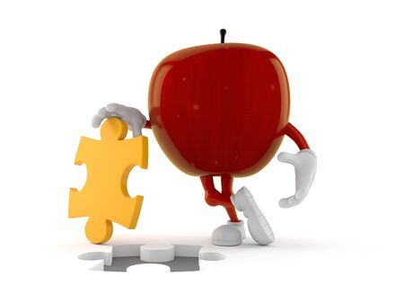 Apple character with jigsaw puzzle isolated on white background. 3d illustration