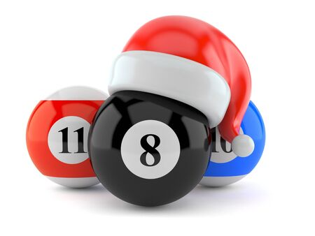 Pool balls with santa hat isolated on white background. 3d illustration
