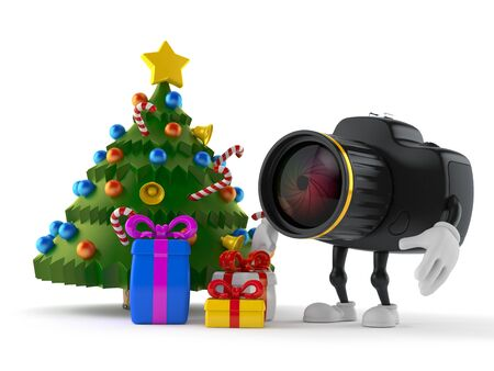 Camera character with christmas tree and gifts isolated on white background. 3d illustration 스톡 콘텐츠