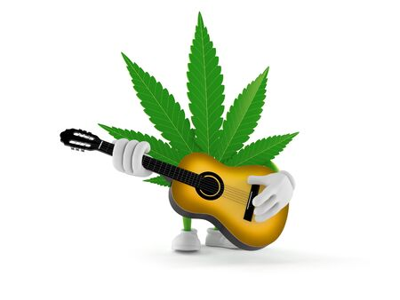 Cannabis character playing guitar isolated on white background. 3d illustration