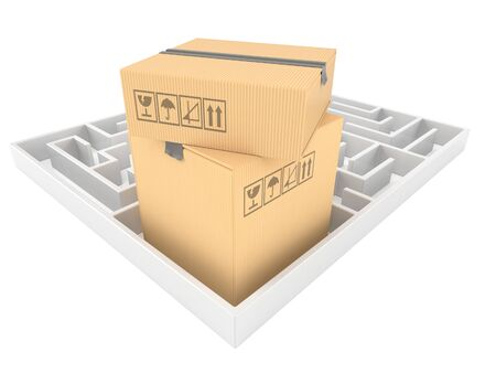 Packages with maze isolated on white background. 3d illustration