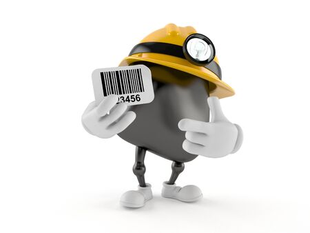 Miner character holding barcode isolated on white background. 3d illustration