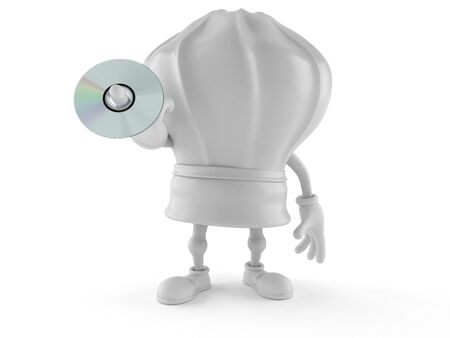 Chef character holding cd disc isolated on white background. 3d illustration Imagens
