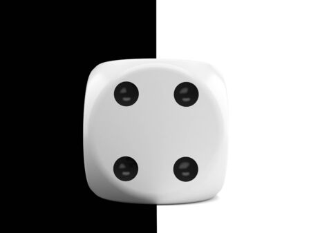 Dice on black and white background. 3d illustration