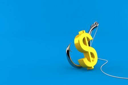 Dollar currency with fishing hook isolated on blue background. 3d illustration