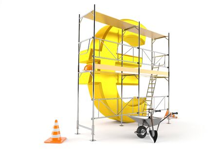 Euro currency with scaffolding isolated on white background. 3d illustration Фото со стока