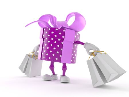 Gift character holding shopping bags isolated on white background. 3d illustration