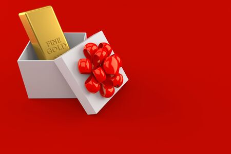 Gold ingot inside gift isolated on red background. 3d illustration