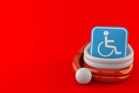 Handicap symbol inside santa hat isolated on red background. 3d illustration