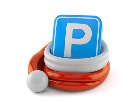 Parking symbol inside santa hat isolated on white background. 3d illustration