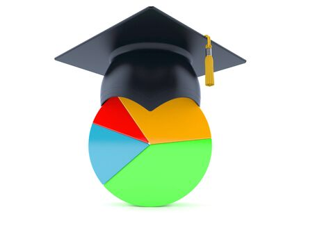 Pie chart with mortarboard isolated on white background. 3d illustration 写真素材 - 129409258