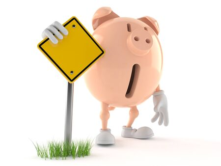Piggy bank character with blank road sign isolated on white background. 3d illustration Zdjęcie Seryjne