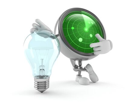 Radar character with light bulb isolated on white background. 3d illustration
